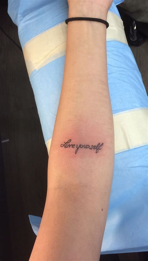 """Forearm tattoo """"love yourself"""" - love the font of the"""