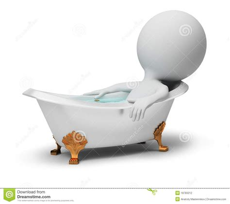 3d Small People - In A Bath Stock Illustration