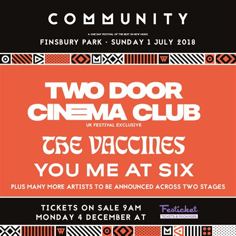 Two Door Cinema Club & The Vaccines to Play Community