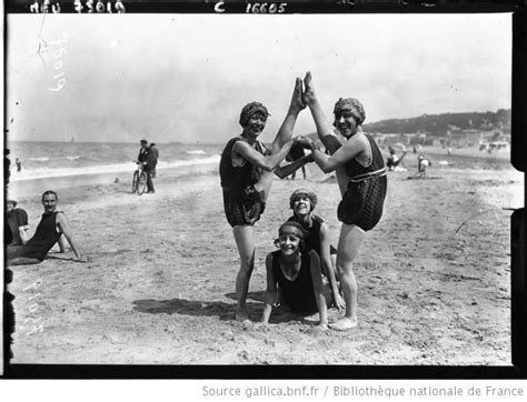 Group of girl on the beach in Deauville